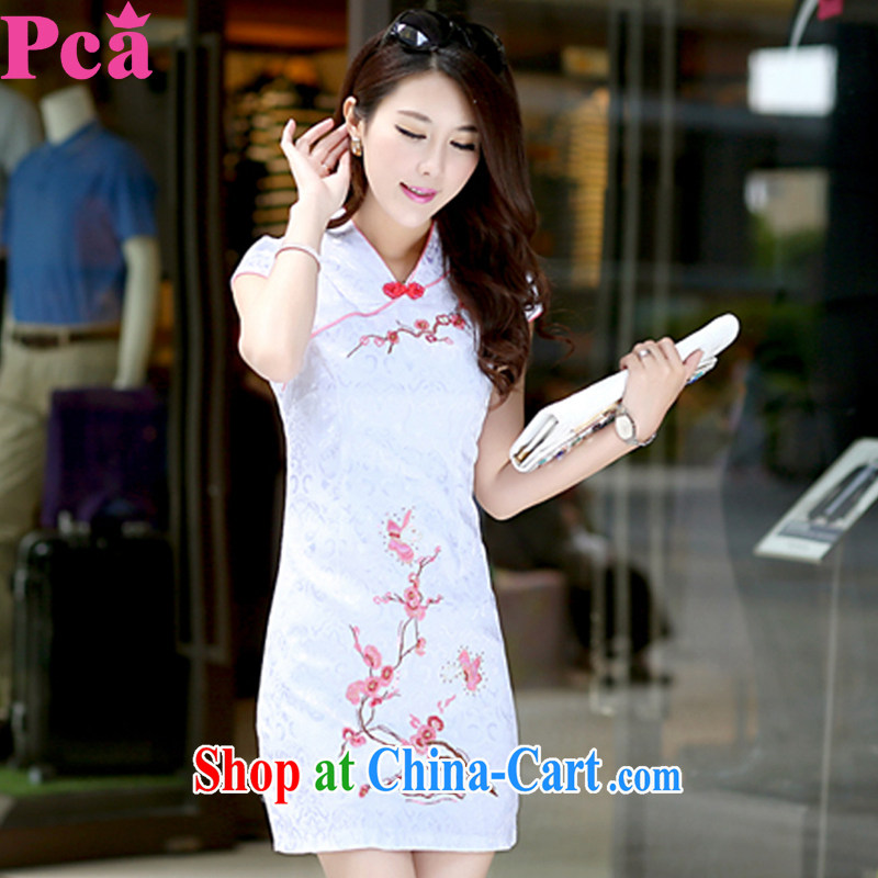 PCA dresses summer new Chinese wind improved female elegant short sleeve cheongsam dress white XL