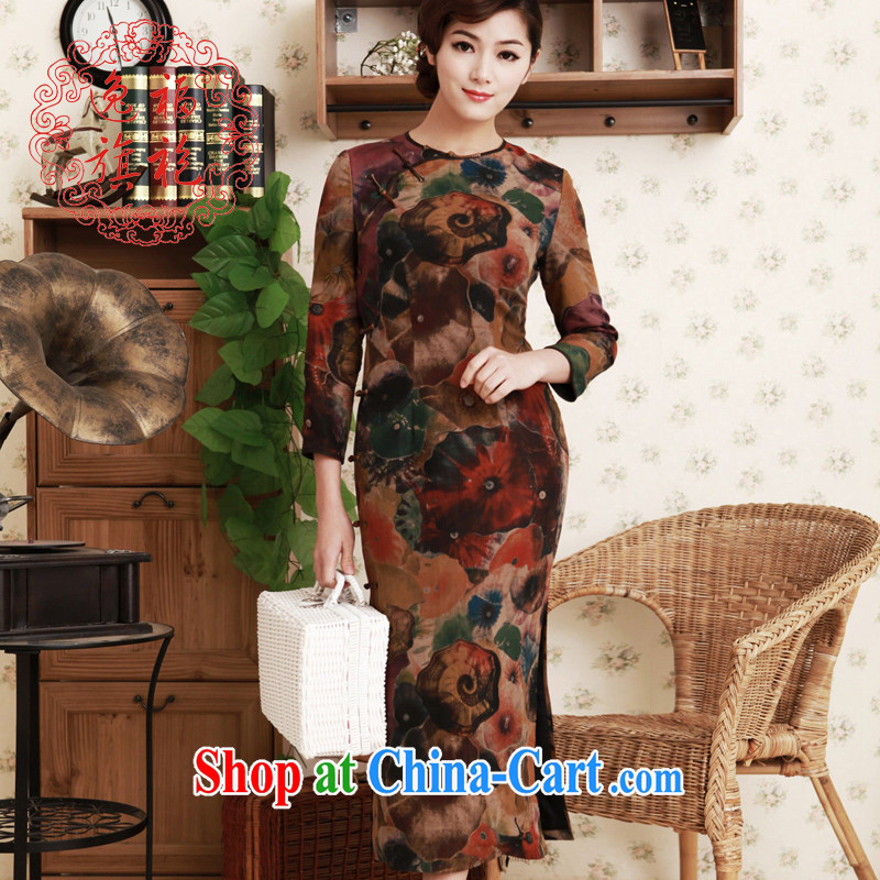once and for all, spring 2015 new cheongsam silk incense cloud yarn, long-sleeved long no collar improved cheongsam dress brown tailored 10 day shipping
