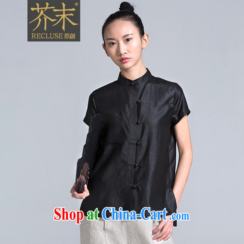 The Mustard original -- Van Gogh sink_New Chinese Chinese style designer, sauna silk Chinese short-sleeved spring and summer, female black XL