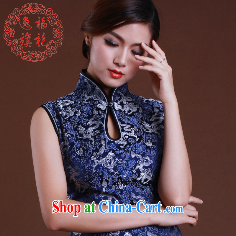 once and for all, qipao upscale Brocade cheongsam Montreal Blue Dragon improved fashion style tailored blue tailored 10 day shipping