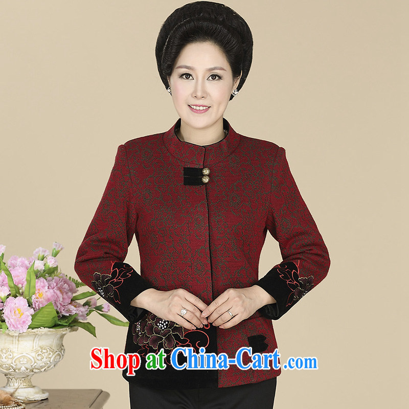 civicknight 2015 spring new, middle-aged and older women wear casual mom with 40 - 50 year-old t-shirt middle-aged General, Tang red 5 XL
