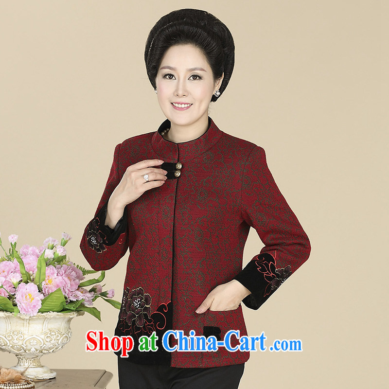 civicknight 2015 spring new, middle-aged and older women wear casual mom with 40 - 50 year-old t-shirt middle-aged General, Tang red 5 XL, civicknight, shopping on the Internet
