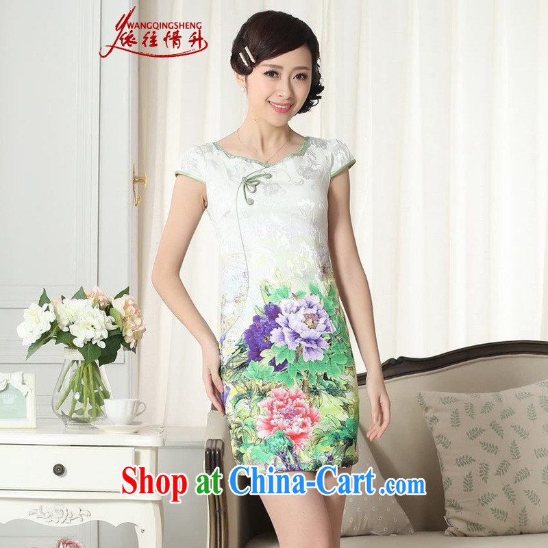 According to the conditions in summer and stylish new elegance improved Chinese qipao retro beauty short cheongsam dress as figure 2 XL