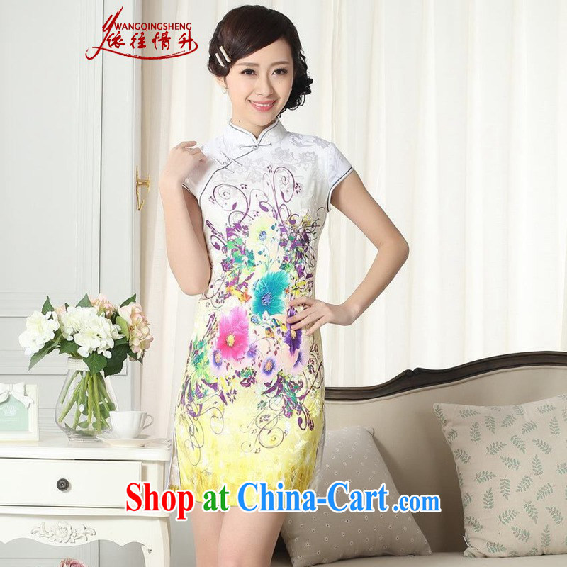 According to the conditions in summer and stylish new Chinese improved Chinese qipao jacquard cotton cultivating short cheongsam dress in figure 2 XL