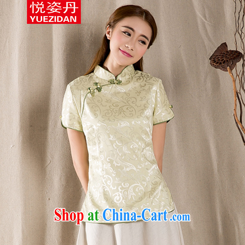 Yue-dan 2015 summer New-snap embroidery female T-shirt China wind female antique Chinese green XXL