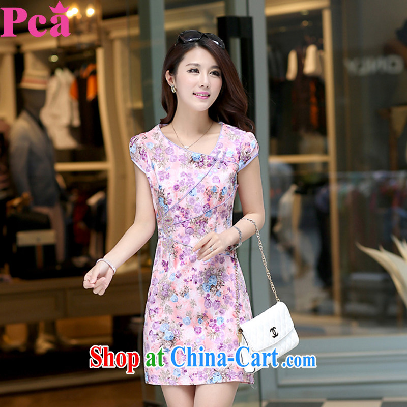 qipao PCA spring and summer with new Tang is improved and stylish ladies stitching short-sleeved beauty purple L