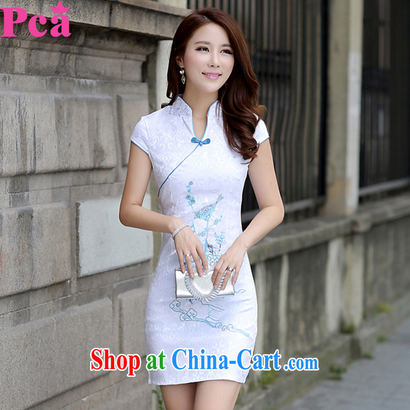 PCA dresses summer Chinese New Products short-sleeved qipao improved V style beauty light blue L