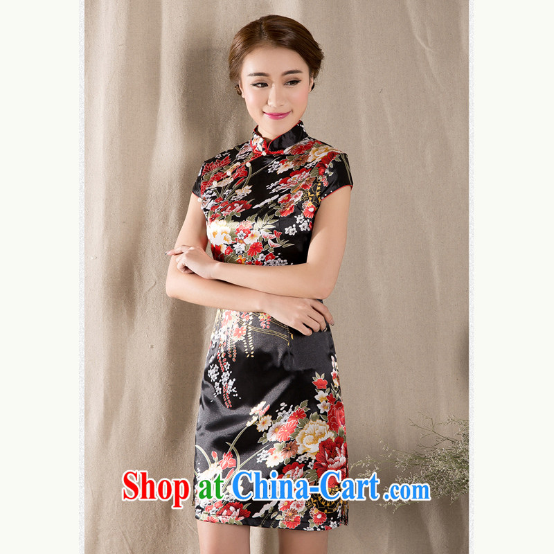 Elizabeth's poem Cayman's 2015 New Spring Summer short-sleeve Chinese qipao refined antique Chinese wind women dress suit 329 XXL