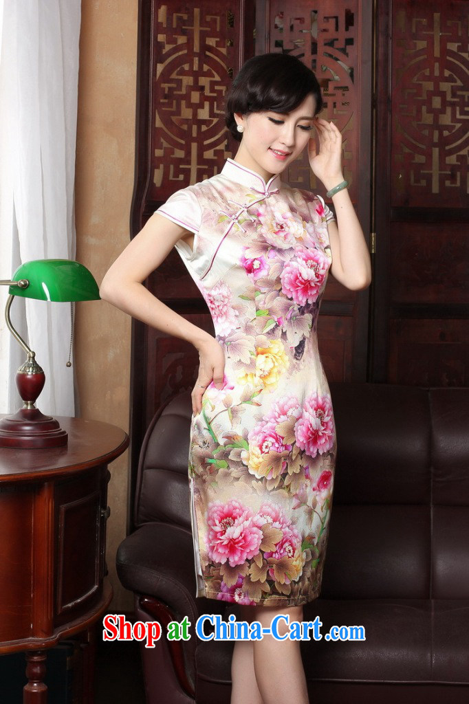 Bin Laden smoke summer new Chinese cheongsam dress upscale sauna silk retro Silk Cheongsam Heavenly Fragrance short-sleeved qipao gown as shown color 2 XL pictures, price, brand platters! Elections are good character, the national distribution, so why buy now enjoy more preferential! Health