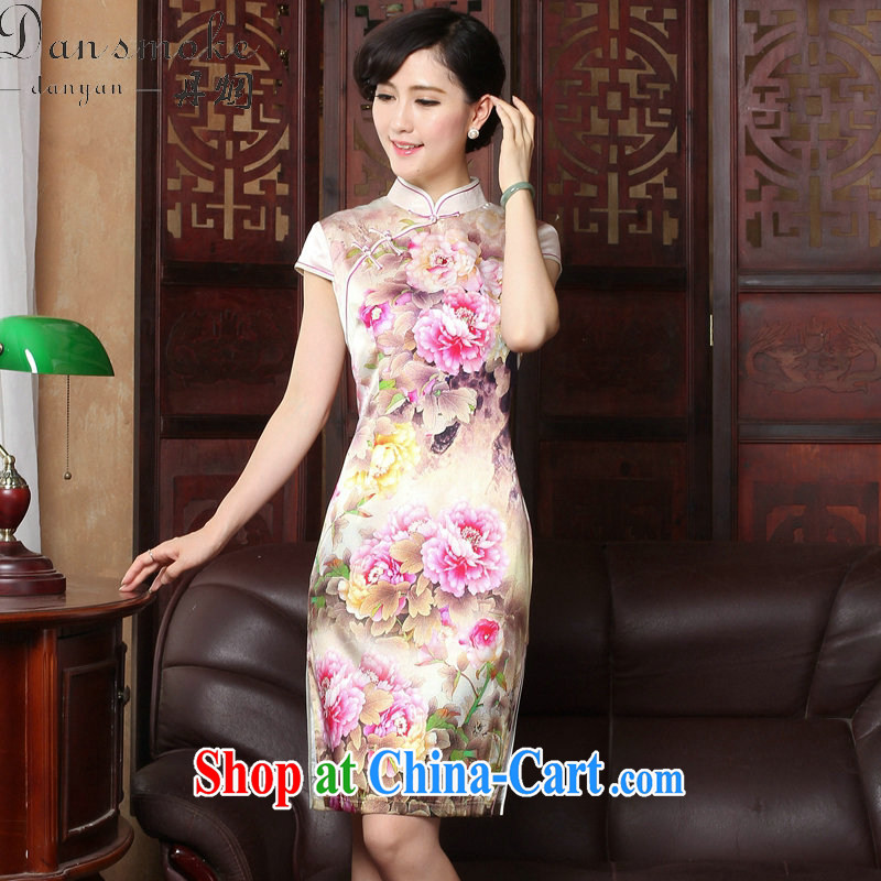 Dan smoke summer new Chinese cheongsam dress upscale sauna silk retro Silk Cheongsam Heavenly Fragrance short-sleeved qipao gown as shown color 2 XL