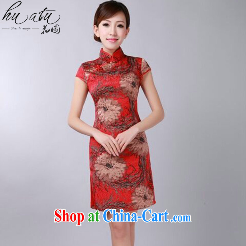 Take the 2015 summer new retro floral flowers Chinese improved qipao and collar jacquard cotton cheongsam dress as shown color L