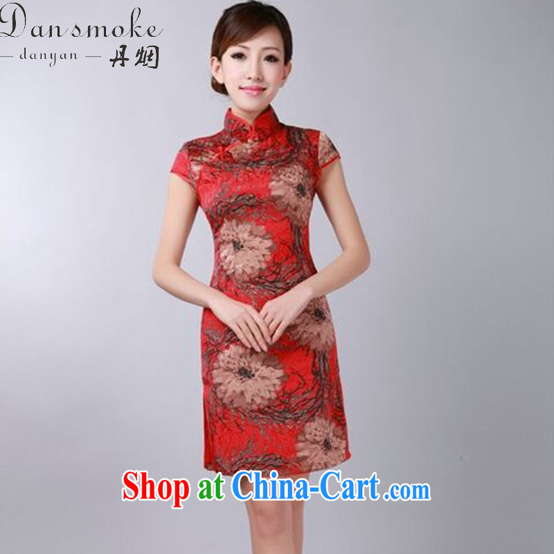 Bin Laden smoke-free 2015 summer new retro floral flowers Chinese improved qipao and collar jacquard cotton cheongsam dress figure-color 2 XL