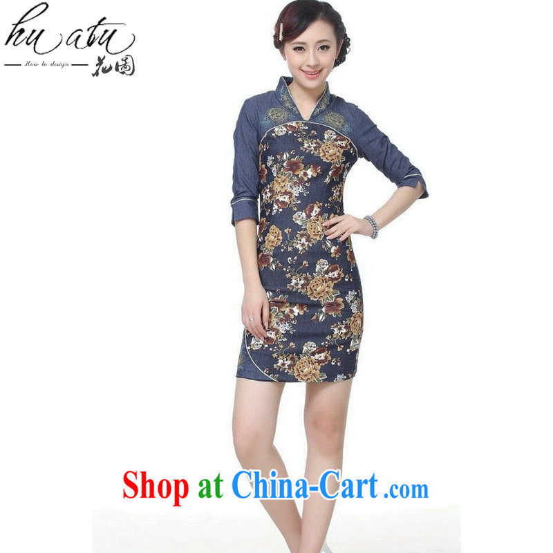Take the 2015 spring and summer new cheongsam Tang Women's clothes Chinese improved Chinese V the collar denim cotton stamp short cheongsam picture color 2 XL