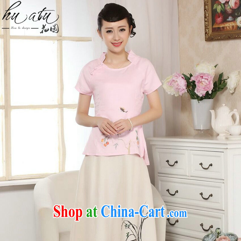 spend the summer with new female Chinese Chinese improved retro hand-painted cotton Ma T-shirt ethnic wind original short-sleeved Chinese single pink T-shirt 2XL