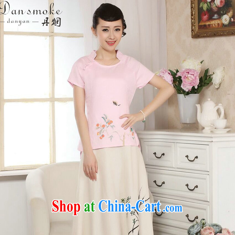 Bin Laden smoke summer new female Chinese Chinese improved retro hand-painted cotton Ma T-shirt ethnic wind original short-sleeved Tang Single Piece pink T-shirt 2XL