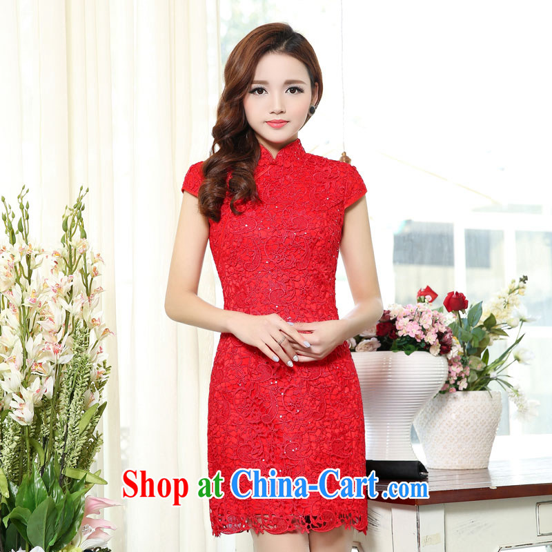 2015 spring sexy back exposed short lace cheongsam dress Chinese red bridal wedding toast clothing dress women's clothing dresses 1501 photo color S