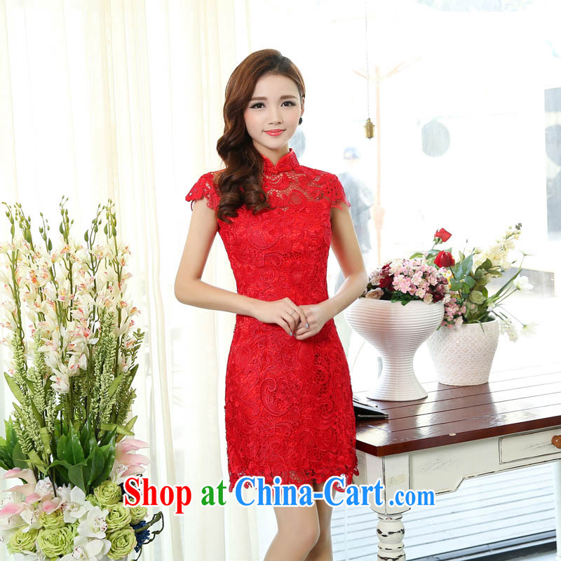 Spring 2015 Chinese style short, Sau San wedding dresses lace-up collar graphics thin toast Service Bridal back door small dress 1502 picture color XXL
