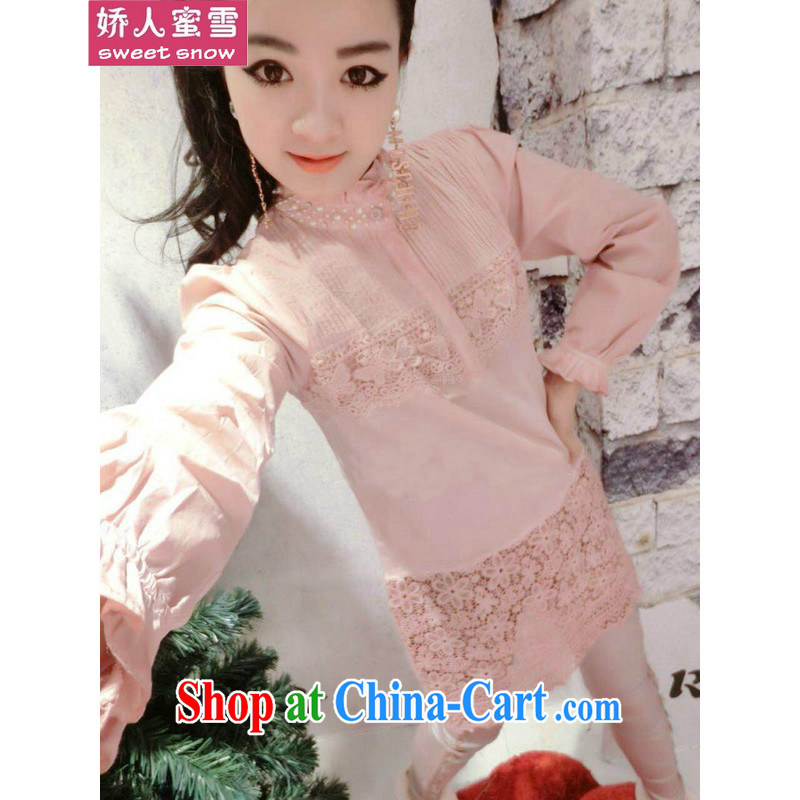 Aviation, honey snow the European site and stylish lounge simple Pearl studs, small collar lace stitching long T-shirt gray L
