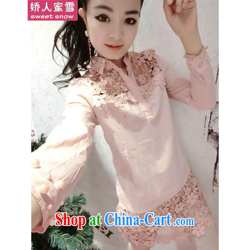 Air, honey snow the European site and stylish lounge floral Openwork decoration Pearl cuff long shirt T-shirt pink L