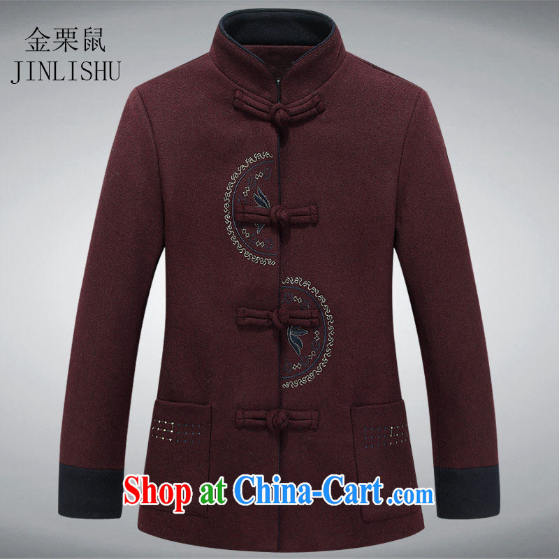 The chestnut mouse new middle-aged and older women, and gross Tang jackets surrounded the collar Tang with elegant simplicity and Chinese wine red XXXL