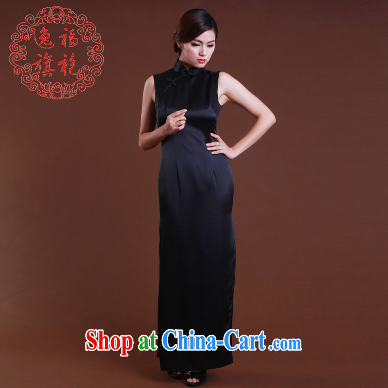 once and for all, a solid color heavy Silk Cheongsam retro long Simple Chinese Dress spring and summer dresses, advanced custom black tailored 10 day shipping