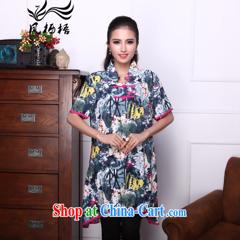 Bong-amphibious Ori-to-summer 2015 New National wind women long loose cotton the temperament Chinese T-shirt DQ 1524 suit 1 XXL