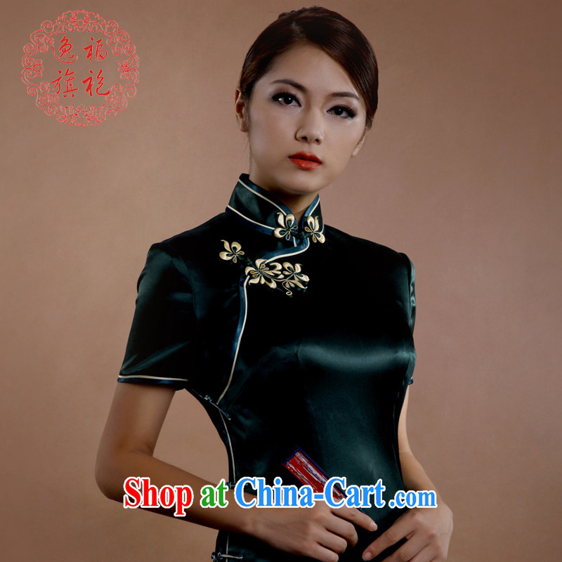 once and for all, dark green heavy Silk Cheongsam long retro stars with high quality tailor-made dresses spring dresses dark tailored 15 day shipping