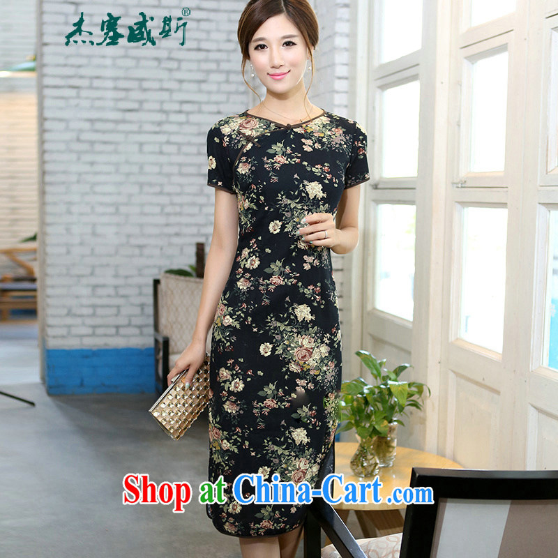 The Jessup, spring and summer girls retro elegant cotton the field characteristics for manual for cultivating short-sleeved, long-neck cheongsam floral Peony memory S