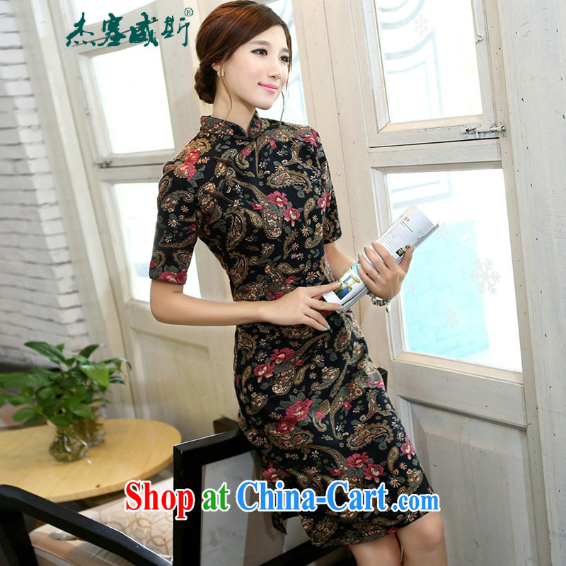 The kit in the spring and summer Women's clothes, improvements in the cuff lining up in cotton, the manual a field for cultivating cheongsam cashew nuts spend XXL