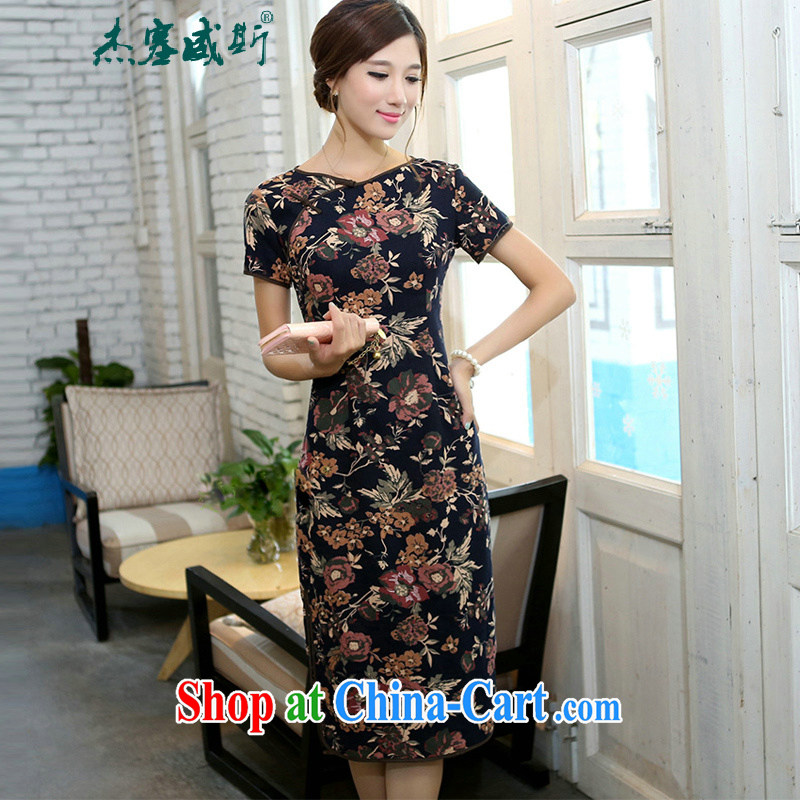 The jack plug, spring and summer girls retro elegant cotton the field characteristics for a field manual for cultivating, short-sleeved long cheongsam Cheuk-yan autumn round-collar XXL