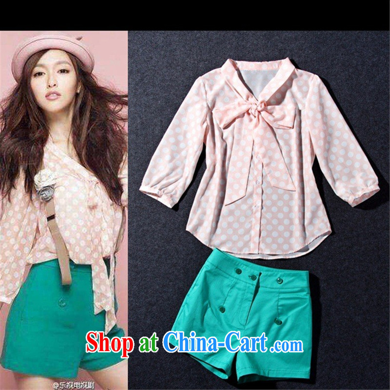 hamilton 2015 spring and summer new female stars with short interviews with V collar pink wave point snow woven T-shirt + shorts picture color L