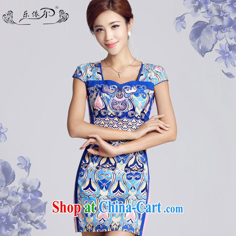 And, in accordance with antique Ethnic Wind blue and white porcelain pattern short dresses 2015 new spring day, Mrs girl cheongsam dress female LYE 33,301 blue XXL