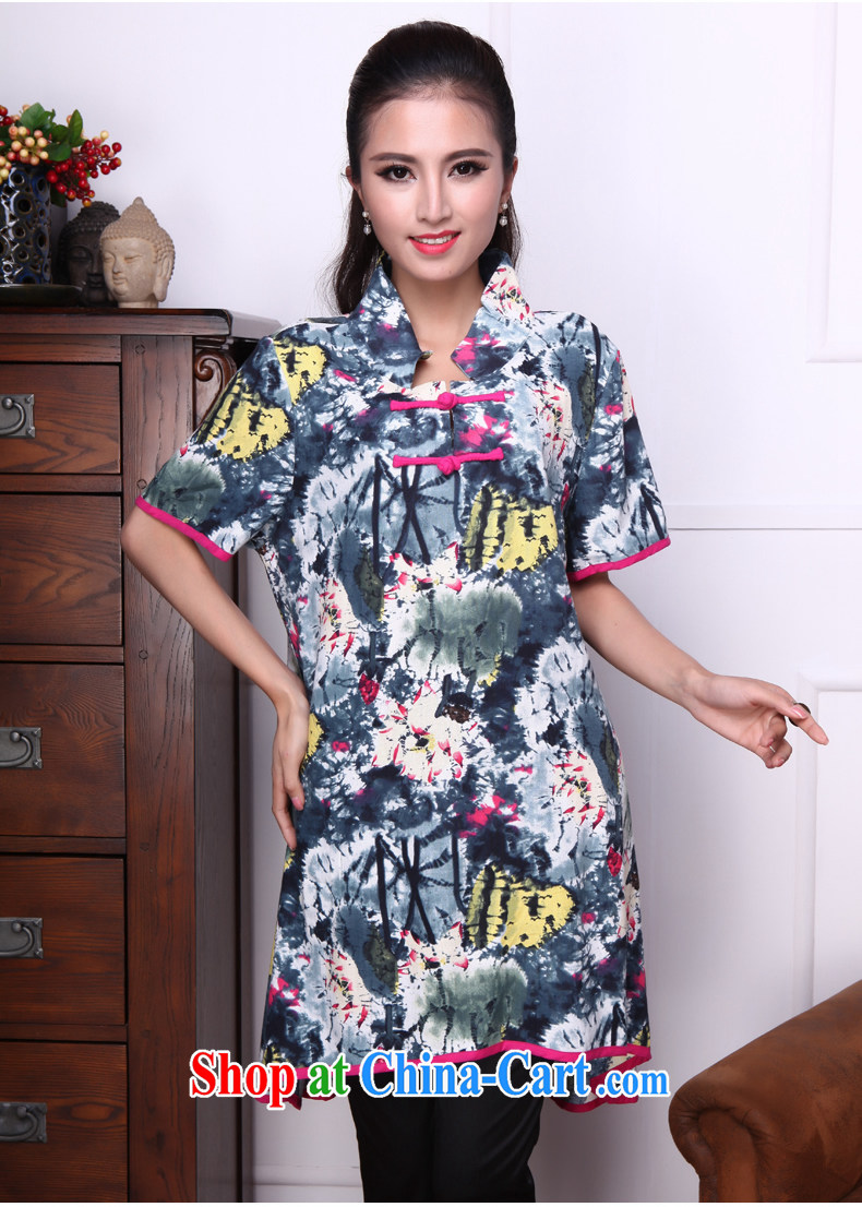 Bong-amphibious Ori-yu xin 2015 summer new cotton Ma T-shirt ethnic wind embroidery cuff in Yau Ma Tei cotton shirt DQ 1527 blue XXL pictures, price, brand platters! Elections are good character, the national distribution, so why buy now enjoy more preferential! Health
