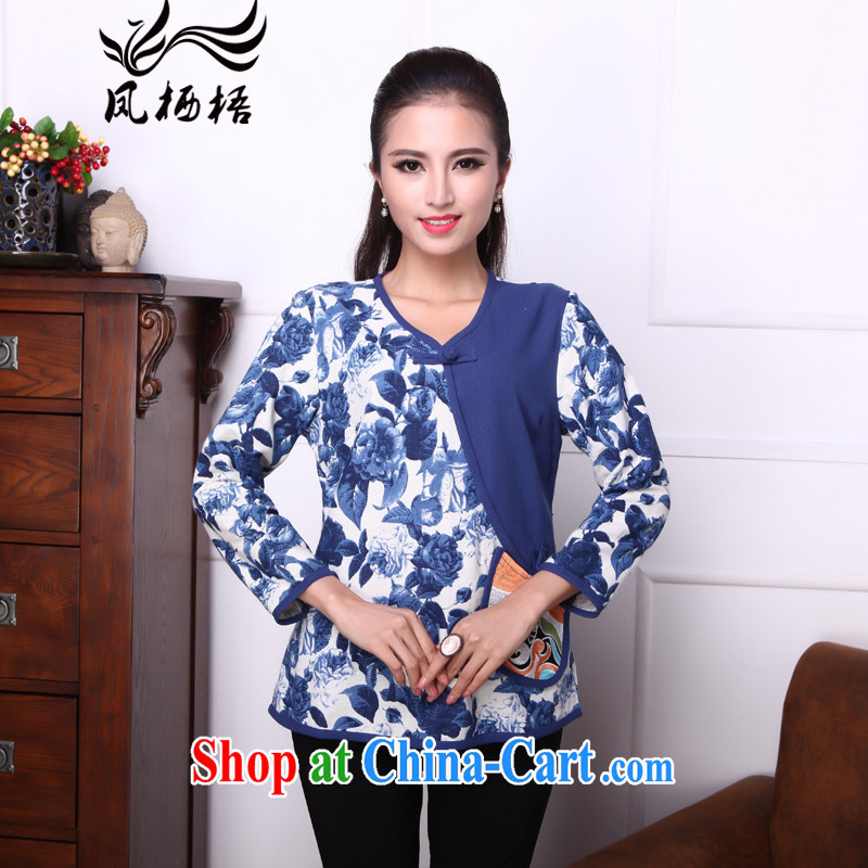 Bong-amphibious Ori-yu xin 2015 summer new cotton Ma T-shirt ethnic wind embroidery cuff in Yau Ma Tei cotton shirt DQ 1527 blue XXL