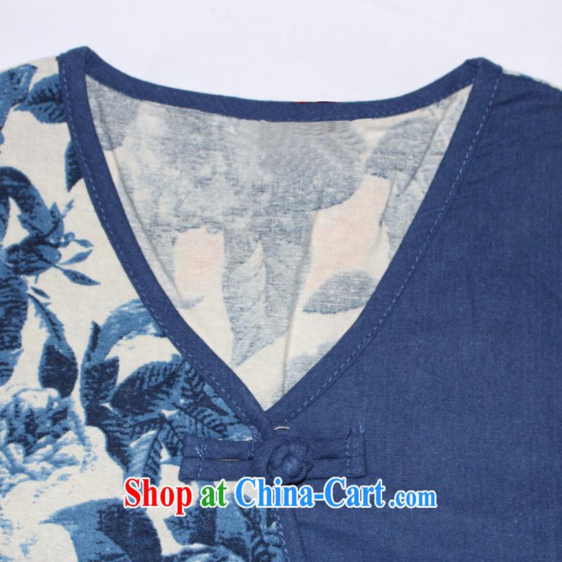 Bong-amphibious Ori-yu xin 2015 summer new cotton Ma T-shirt ethnic wind embroidery cuff in Yau Ma Tei cotton shirt DQ 1527 blue XXL, Bong-amphibious and, shopping on the Internet