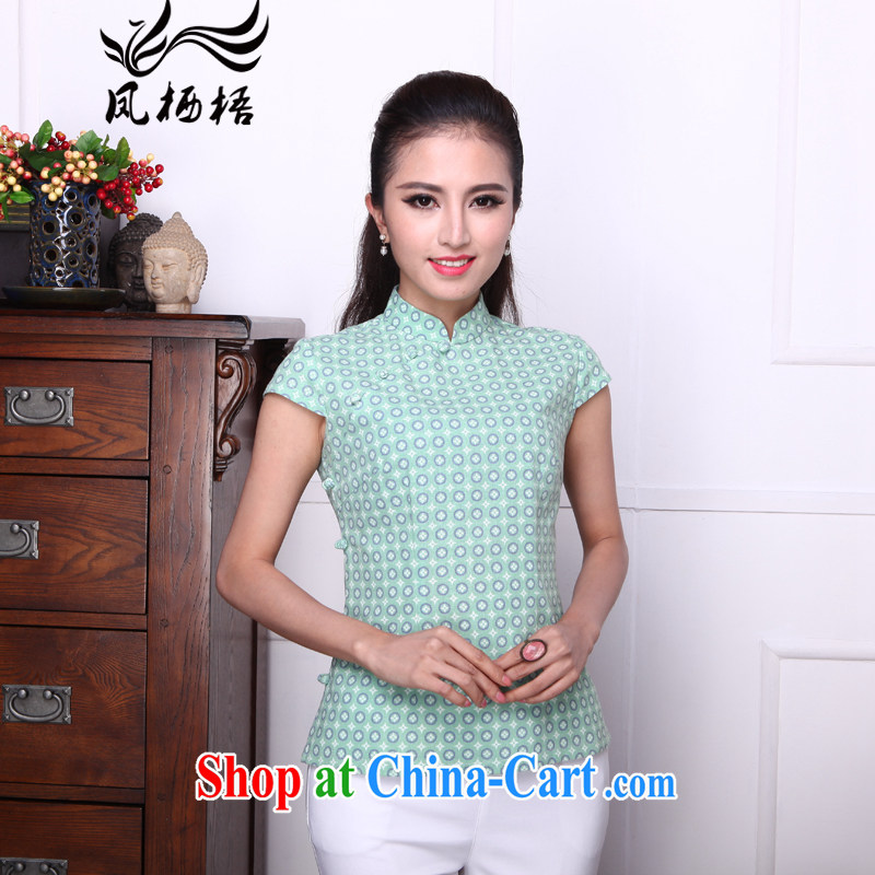 Bong-amphibious Ori-ice-yin summer 2015 new Chinese T-shirt retro, for cotton Ma Sau San short Chinese T-shirt DQ 1532 green XXL