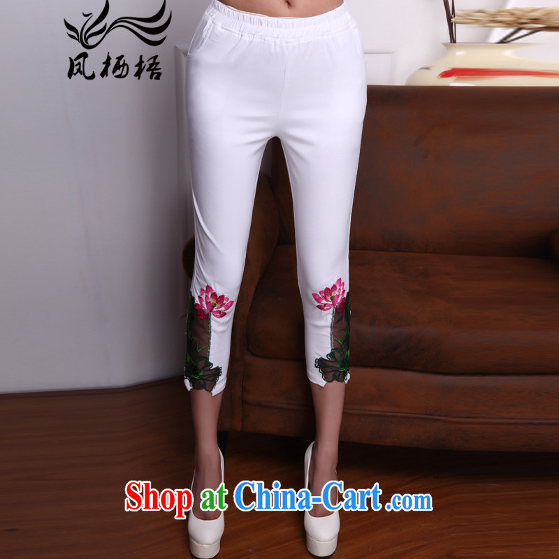 Bong-amphibious Ori-keun-hsuan summer 2015 new calf pants embroidery China wind tight pants DQ 1533 white XXL