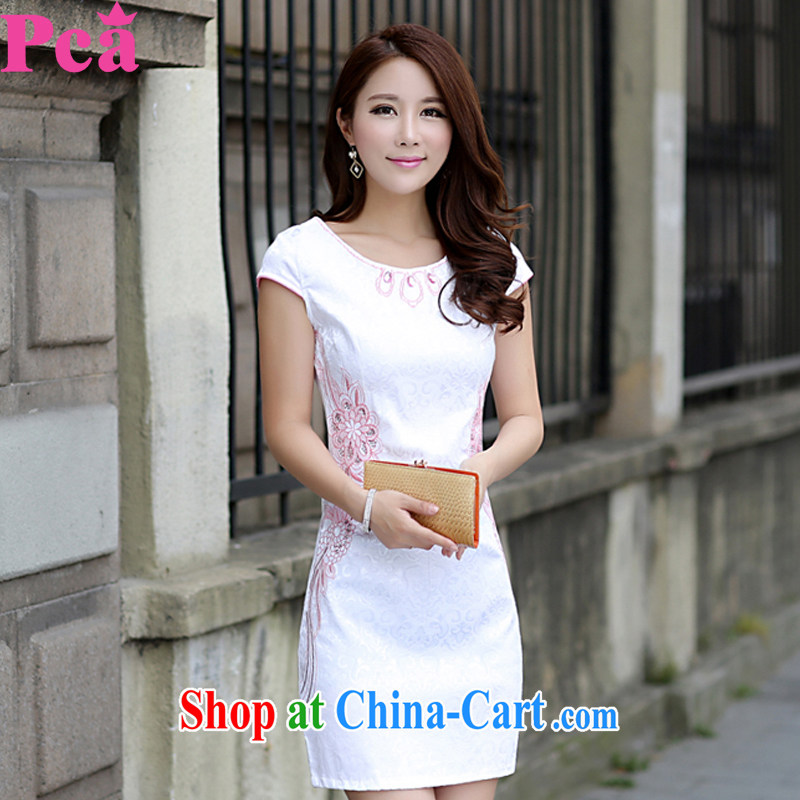 PCA 2015 spring and summer new short cheongsam Chinese beauty improved female pink flower M