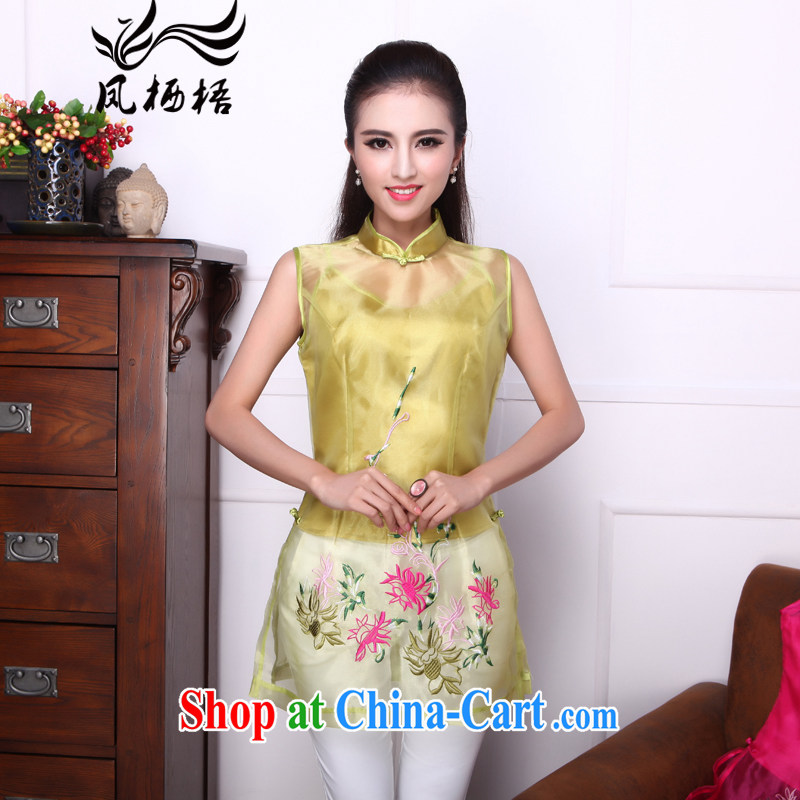 Bong-amphibious Ori-fong, summer 2015 new dresses T-shirt the root yarn embroidery, for cultivating Chinese T-shirt DQ 1536 yellow and green L