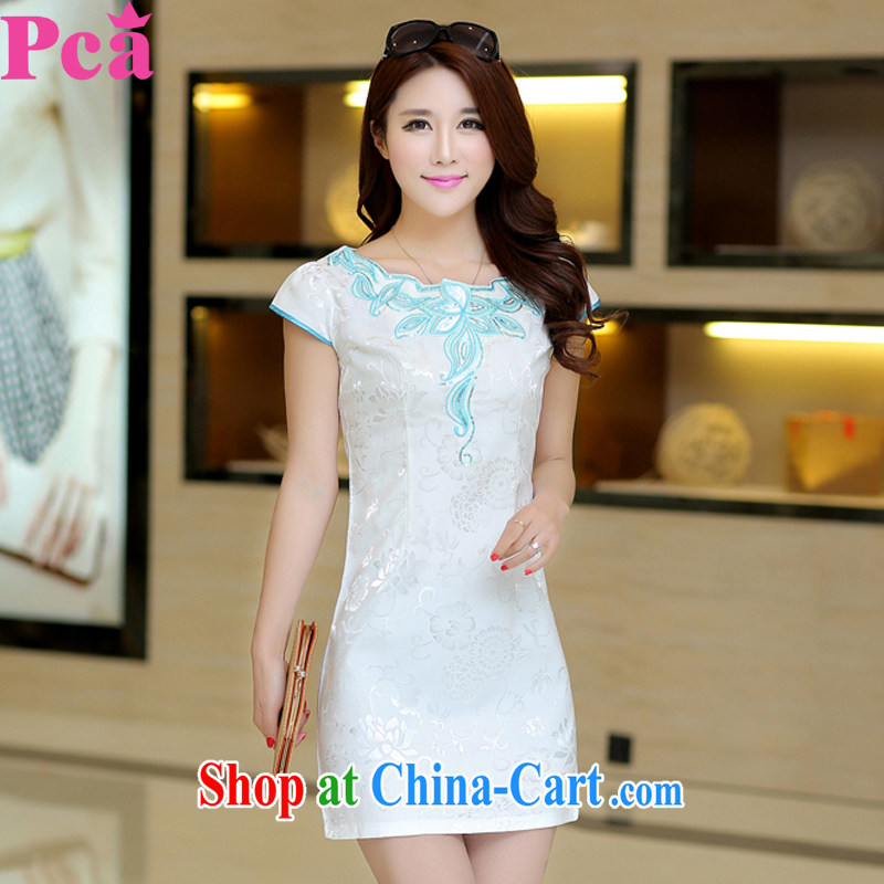 2015 PCA new spring and summer with stylish cultivating short-sleeved qipao refined and elegant white XL
