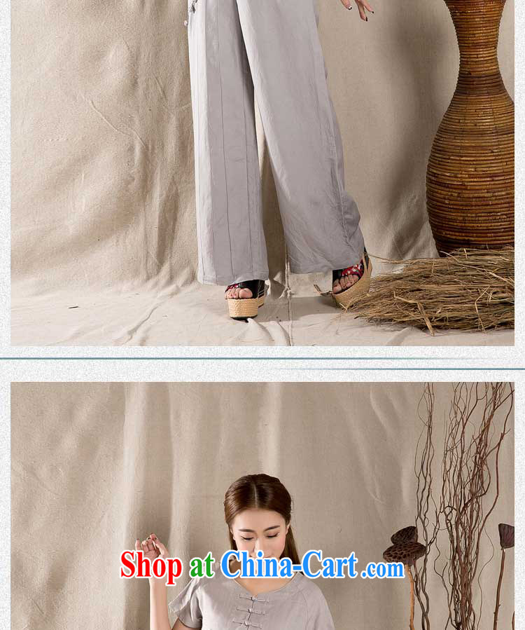 Yue Chi Bin Laden 2015 summer new, antique Chinese female fashion cheongsam shirt cotton Ms. Yau Ma Tei Tong with gray M pictures, price, brand platters! Elections are good character, the national distribution, so why buy now enjoy more preferential! Health