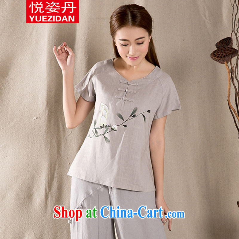 Yue Chi Bin Laden 2015 summer new, antique Chinese female fashion cheongsam shirt cotton Ms. Yau Ma Tei Tong with gray M
