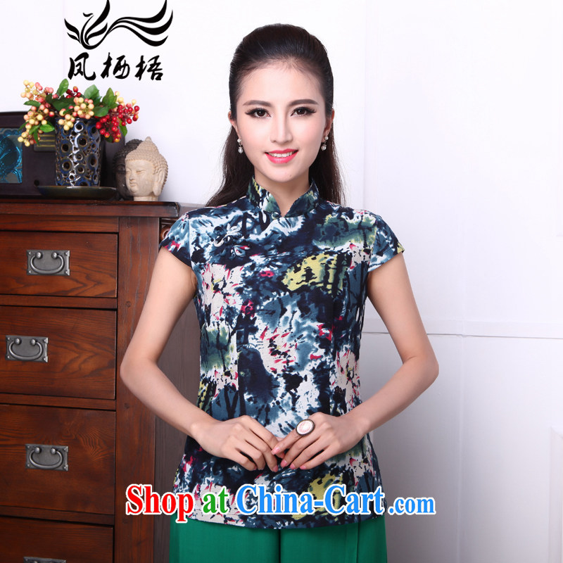 Bong-amphibious Ori-detailed Yin Yue 2015 summer new cheongsam shirt short-sleeved, stamp duty for cultivating Chinese T pension DQ 1540 fancy XXL