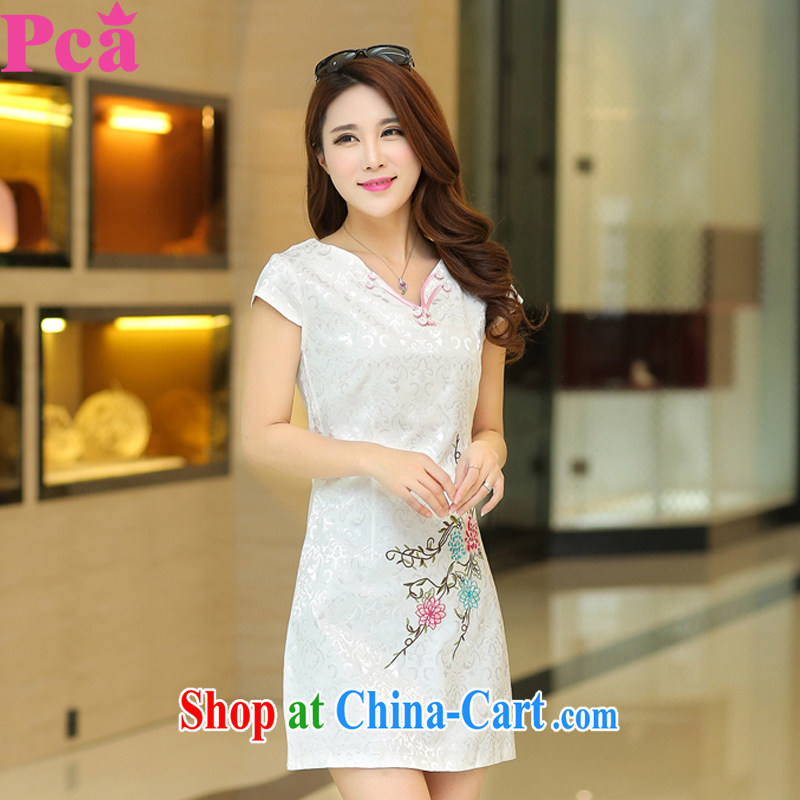 PCA spring and summer Chinese new short-sleeved qipao improved China wind embroidered graphics thin white XL