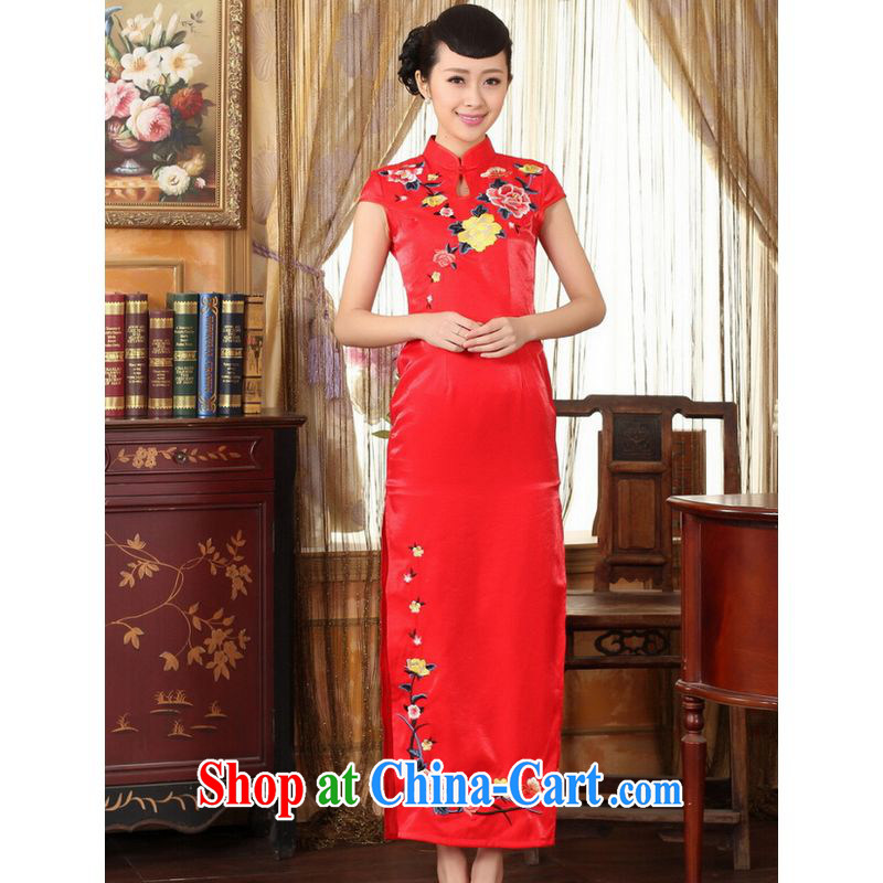 Shanghai optimization option, Ms. Tang cheongsam red embroidery cheongsam dress beauty graphics thin elegance dress long cheongsam red 2 XL