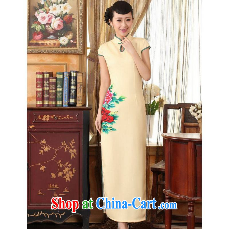 On Shanghai and optimize purchase dresses Ms. Tang national color day Hong Kong cheongsam dress beauty graphics thin elegance dress long cheongsam yellow 2XL