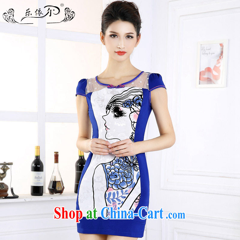And, in accordance with the new outfit, cultivating graphics thin daily short-sleeved girl cheongsam dress improved retro set drill female LYE 66,602 blue XXL