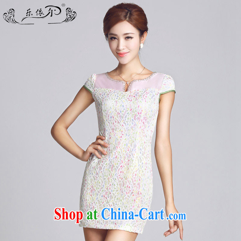 And, in accordance with female new cheongsam lace-patterned improved short, female cheongsam dress daily lady LYE 66,605 white XXL