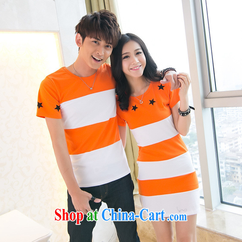 Ya-ting store 2015 new Korean version stitching streaks small star pattern round the male T shirts girls dresses couples with orange male XXL