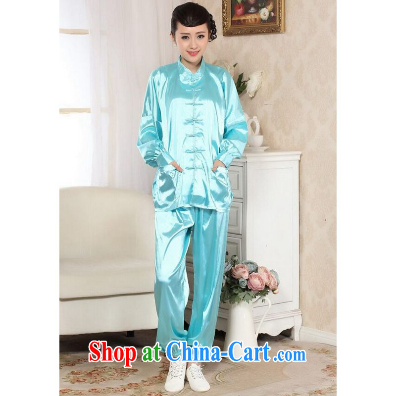 Shanghai optimization option, Spring Loaded Tang set up for Ms. damask long-sleeved T-shirt Kung Fu Tai Chi Kit blue 2 XL